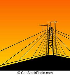 Suspension bridge perspective.