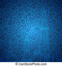 Oil rig silhouettes and vintage background. Vector...