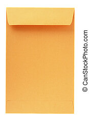 envelope back - back view of a yellow mailing envelope,...