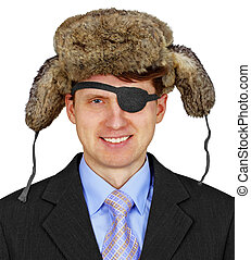 Russian pirate in business - isolated on white background -...