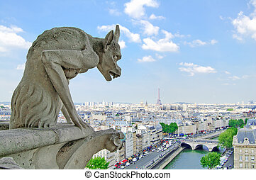 Gargoyle Statue in Notre Dame Cathedral and Paris aeriel cityscape with Eiffel Tower on background. Paris, France
