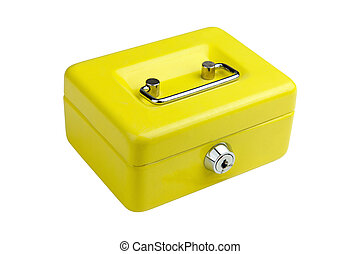 Yellow metal box lock on a white background