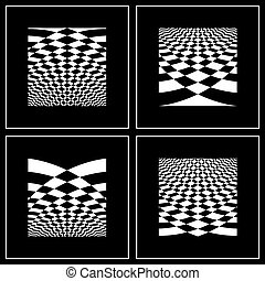 Backgrounds set in op art style - Set of abstract...