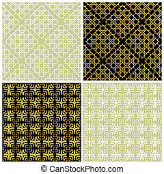 Seamless checked patterns set. Vector art.