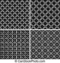 Seamless checked patterns set. - Seamless geometric checked...
