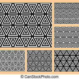 Patterns with triangular cells - Seamless geometric patterns...
