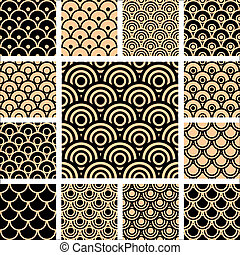 Seamless geometric patterns set. Vector art.