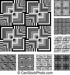 Seamless patterns set. - Seamless patterns set in op art...