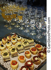 Wedding sweets - Colorful desserts and pastry served on a...