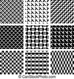 Seamless geometric patterns. - Seamless geometric patterns...