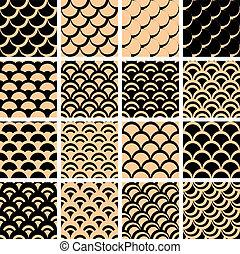 """Seamless patterns set. - Seamless patterns set with """"fish..."""