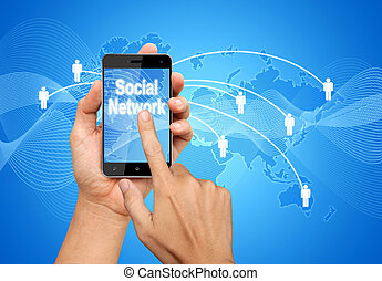hand pressing smart phone screen to connect the Social...