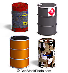 Barrel Collection - Collection of four barrels with Clipping...