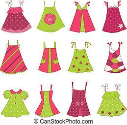 bambino, ragazza, vestire, collezione