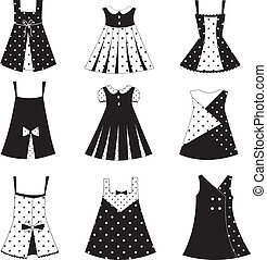 Set of kid girl dress icons, isolated over white