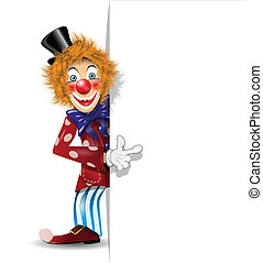 cheerful clown and white background - illustration redheaded...