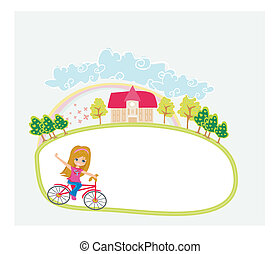 Happy Driving Bike with Cute Smiling Young Girl - abstract frame