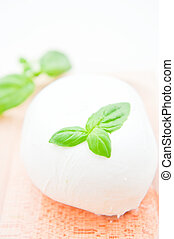 Italian buffalo mozzarella cheese with basil