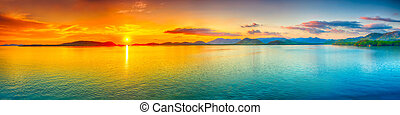 Sunset panorama - Sunrise over the sea.  Panorama