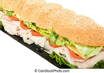 Giant Turkey Hoagie - Closeup photo of a giant turkey hoagie...