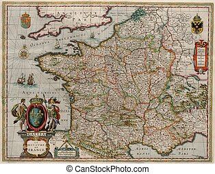 Gallia Le Royaume de France Map - Willem and Johannes Blaeu...