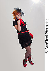 Pretty girl in retro dress