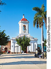 Church in the Cespedes square of Trinidad