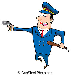 male cartoon police officer running with a gun