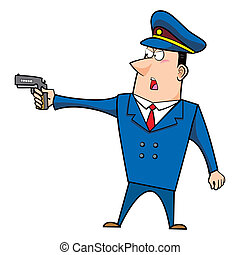 male cartoon police officer standing with a gun