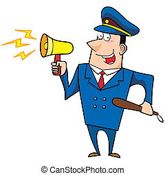male cartoon police officer with a loudspeaker