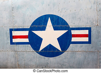 symbol of the US Air Force on board closeup