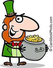 Leprechaun with gold cartoon illustration