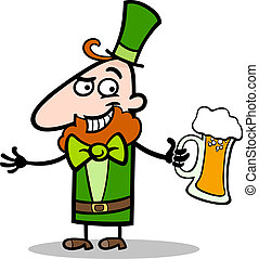 Leprechaun with beer cartoon illustration - Cartoon...