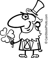 Leprechaun with clover cartoon for coloring - Black and...