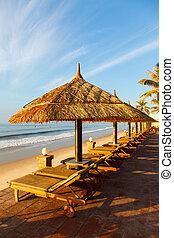 pool and umbrellas on the sky - pool, sunbed, umbrellas on...