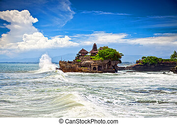 The Tanah Lot Temple, the most important hindu temple of...