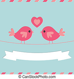 Love birds Valentines Day vector card