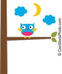 Cute owl vector card