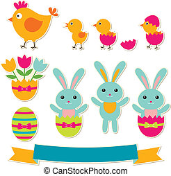 Easter vector stickers set