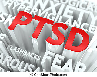 PTSD Concept The Word of Red Color Located over Text of...