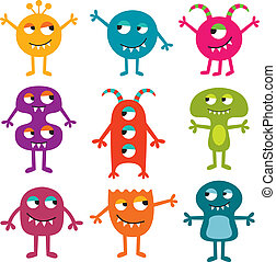 Friendly monsters vector set