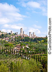 San Gimignano is a small medieval hill town in the province...