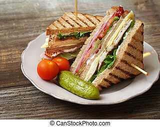 Club sandwich - Photo of a club sandwich made with turkey,...