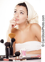 thinker girl - a conceited girl on the table for makeup