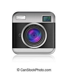 retro camera icon on white background,included clipping path