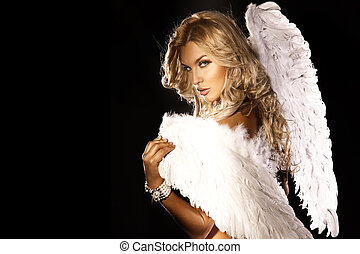 Portrait of gorgeous blonde angel. - Portrait of beautiful...