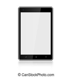 Tablet computer with blank screen on white background,Included clipping path