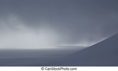 Snow Plain - Snow plain covered by clouds Fast motion 1080p...