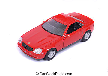car toy - red car toy on the white background