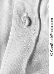 White Dress Shirt Button - White dress shirt with closeup...